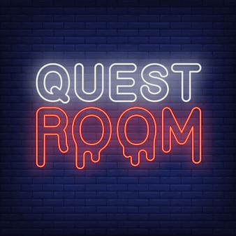 Insegna al neon della stanza delle quest. lettere sanguinanti sul muro di mattoni. elementi di banner o cartelloni luminosi.