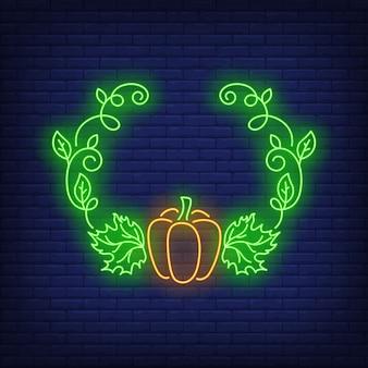 Insegna al neon della struttura delle foglie e della zucca