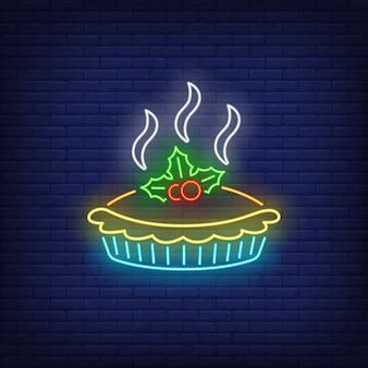 Insegna al neon della torta calda