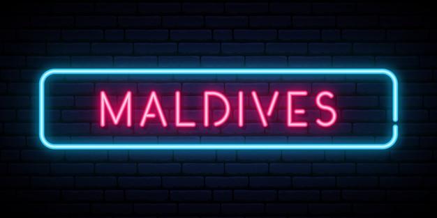 Insegna al neon delle maldive.