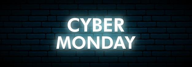 Insegna al neon di cyber monday.