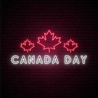 Insegna al neon di happy canada day.