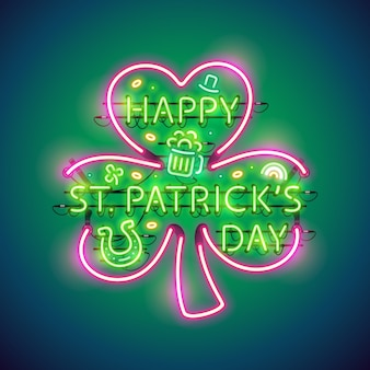 Insegna al neon di happy st patricks day
