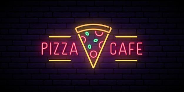 Insegna al neon di pizza cafe.
