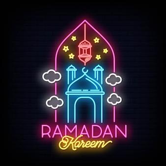 Insegna al neon di ramadan kareem con iscrizione e luna crescente e stelle