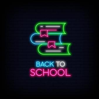 Insegna al neon di ritorno a scuola