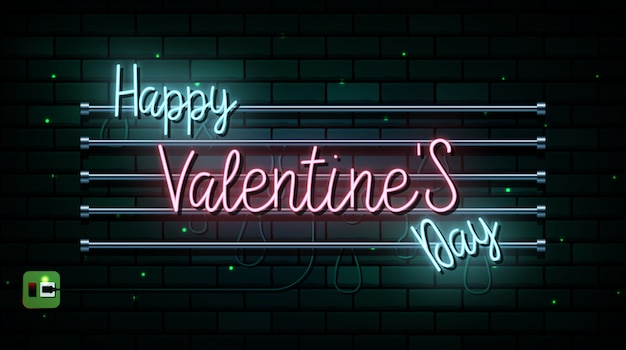 Insegna al neon di san valentino. sfondo vettoriale