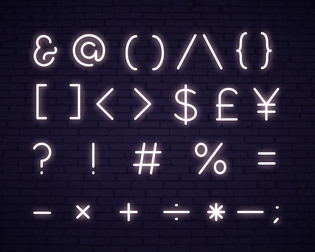 Insegna al neon di simboli del testo bianco