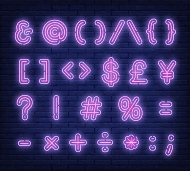 Insegna al neon di simboli rosa del testo