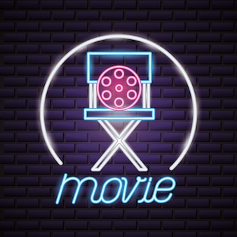 Insegna al neon di tempo di film