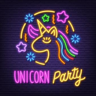 Insegna al neon di unicorno
