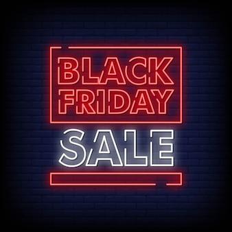 Insegna al neon di vendita di black friday