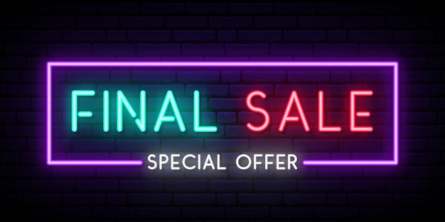 Insegna al neon di vendita finale.
