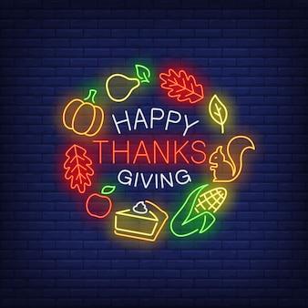 Insegna al neon felice del ringraziamento
