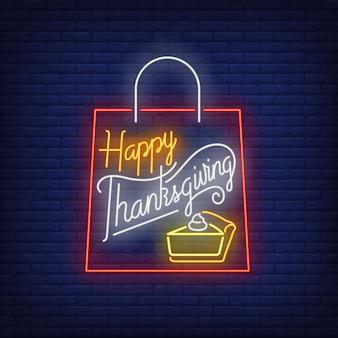 Insegna al neon felice della borsa del ringraziamento
