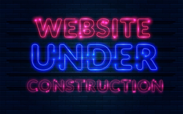 Insegna al neon in costruzione del sito web