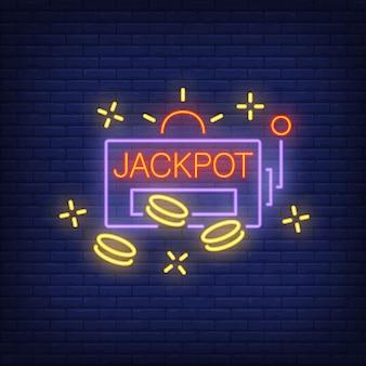 Insegna al neon jackpot. forma di slot machine con chip o monete sul fondo del muro di mattoni