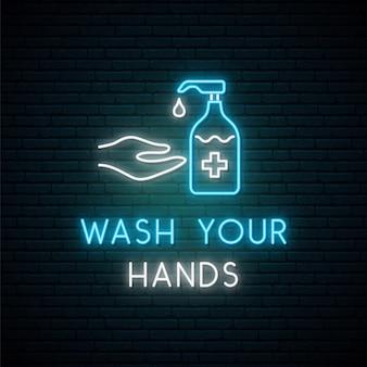 Insegna al neon lavati le mani.