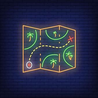 Insegna al neon. mappa cartacea con palme e percorso. elementi di banner o cartelloni luminosi