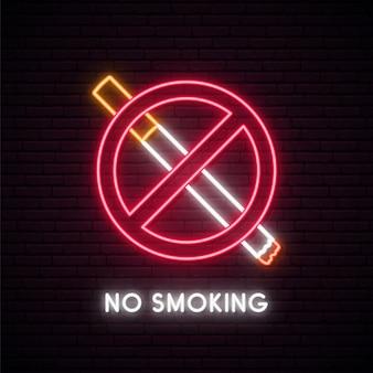 Insegna al neon non fumatori.