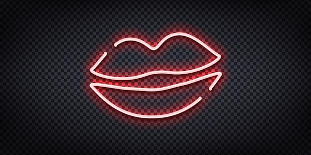 Insegna al neon realistica del logo delle labbra per la decorazione e la copertura sullo sfondo trasparente.
