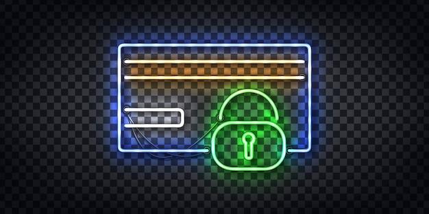 Insegna al neon realistica di protezione della carta di credito e logo del telaio di sicurezza per la decorazione del modello e lo sfondo del layout. concetto di frode e sicurezza.