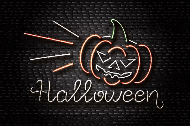 Insegna al neon realistica di scritte di halloween e zucca malvagia per la decorazione e la copertura sullo sfondo della parete. concetto di happy halloween.