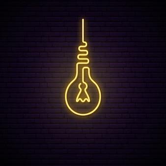Insegna al neon retro della lampadina.