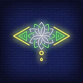 Insegna al neon stilizzata del fiore di loto. meditazione, spiritualità, yoga.