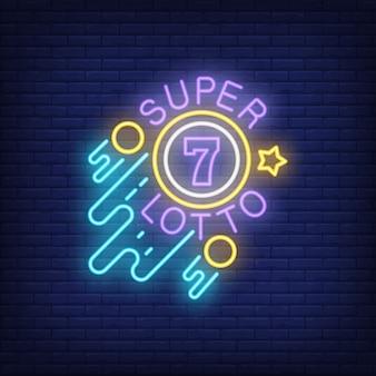 Insegna al neon super lotto. sfera con figura di sette, cerchi e stelle su sfondo di mattoni