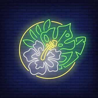 Insegna al neon tropicale di mazzo di fiori. ibisco bianco e foglie verdi in cerchio.