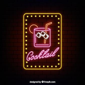 Insegna al neon variopinta del cocktail