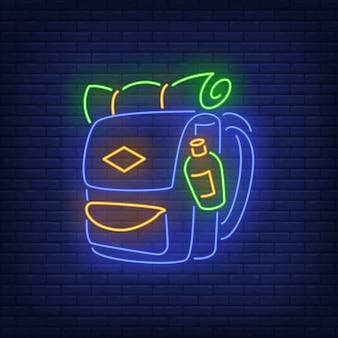 Insegna al neon zaino da viaggio.
