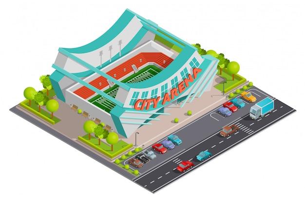 Insegna all'aperto isometrica della composizione dello stadio di sport