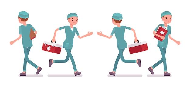 Insegna ambulante dell'infermiera maschio