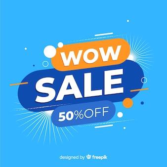 Insegna astratta di promozione di vendita di wow