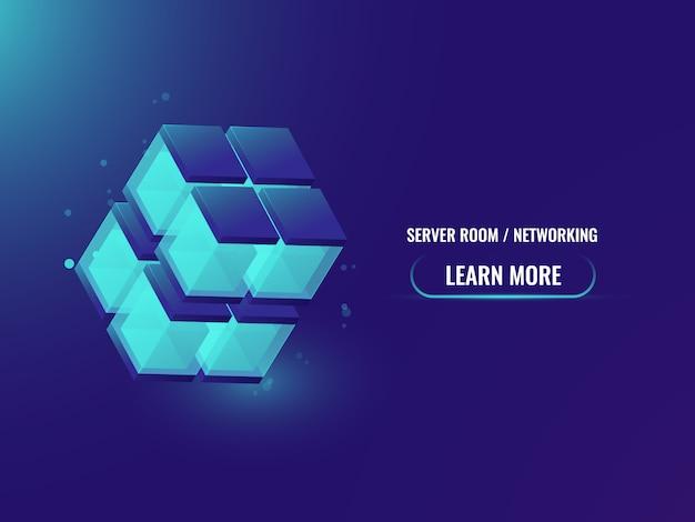 Insegna astratta di tecnologia di concetto di cryptocurrency e blockchain isometrica