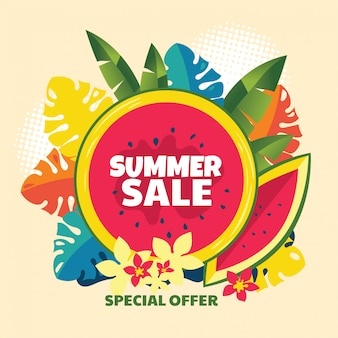 Insegna astratta di vendita di estate con l'anguria e la foglia tropicale