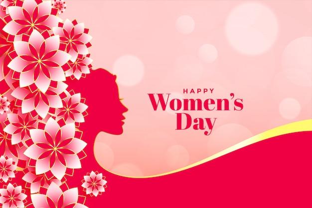 Insegna attraente del fiore del giorno delle donne felici