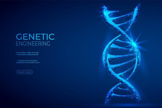 Insegna blu astratta di ingegneria genetica poligonale del dna.