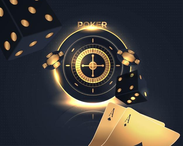 Insegna brillante del poker del casinò