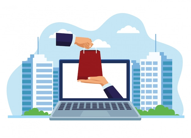 Insegna che compera online con l'illustrazione dei sacchetti della spesa e del computer portatile