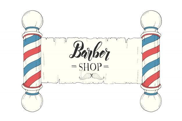 Insegna colorata d'annata disegnata a mano con il classico negozio di barbiere palo e scritte fatte a mano.