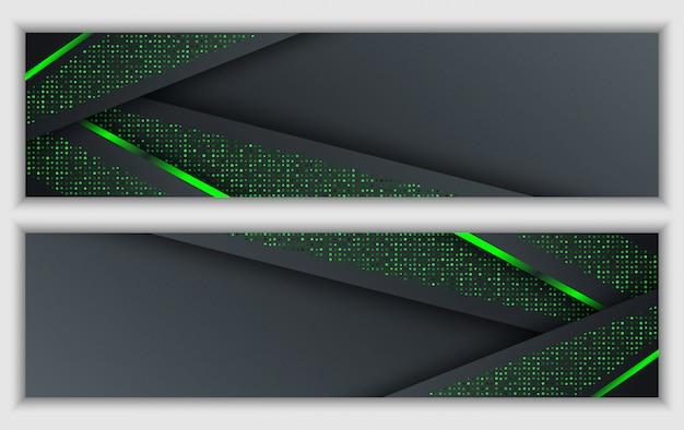 Insegna corporativa astratta verde nera con fondo di tecnologia di scintillio al neon incandescente