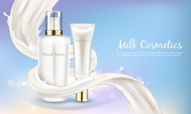 Insegna cosmetica di vettore con bottiglia bianca realistica per crema per la cura della pelle o lozione per il corpo.