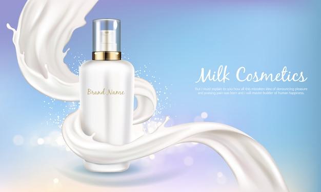 Insegna cosmetica di vettore con la bottiglia bianca realistica 3d per la crema di cura della pelle o la lozione del corpo. prodotti di bellezza, cosmetici naturali o biologici con ricciolo cremoso o latte su sfondo blu brillante