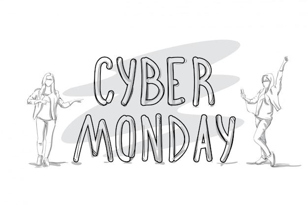 Insegna cyber di vendita di lunedì con il concetto di acquisto di festa della siluetta della gente di schizzo