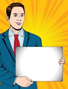 Insegna d'annata di stile con l'uomo d'affari che mostra carta con spazio per le note