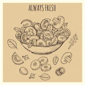 Insegna d'annata fresca dell'insalata verde