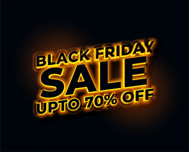Insegna d'ardore di vendita di venerdì nero dorato delle luci